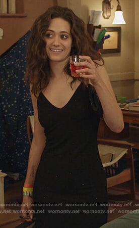 Fiona's black metallic midi dress on Shameless