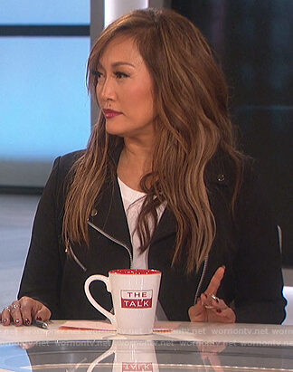 Carrie's black moto jacket on The Talk