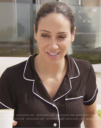 Melissa's black pajamas with contrast piping on The Real Housewives of New Jersey