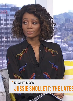 Zuri's black tiger embroidered blouse on Live from E!