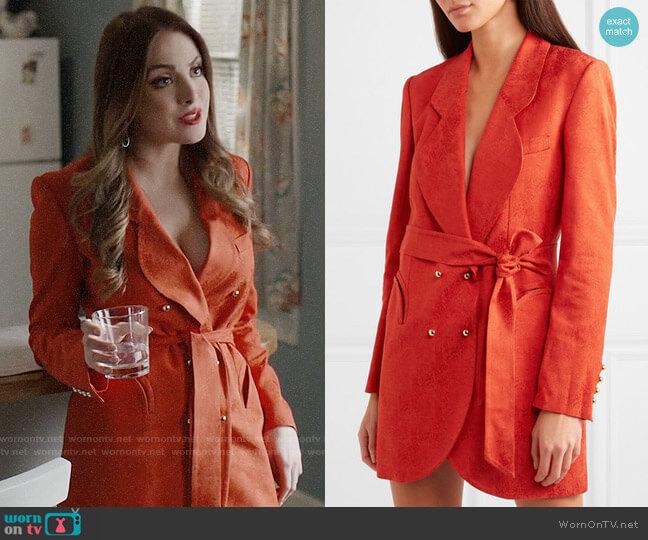 Blaze Milano Sunshine belted satin-jacquard mini dress worn by Fallon Carrington (Elizabeth Gillies) on Dynasty