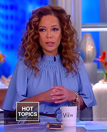 Sunny's blue smocked neck dress on The View