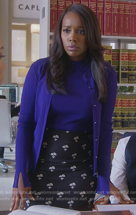 Michaela's black floral pencil skirt and purple cardigan on How to Get Away with Murder