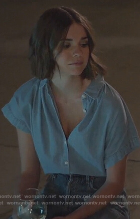 Callie's blue chambray button down blouse on Good Trouble