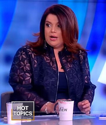 Ana's blue floral lace jacket on The View