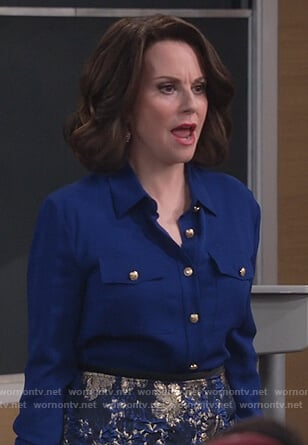 Karen's blue button embellished blouse and metallic skirt on Will and Grace