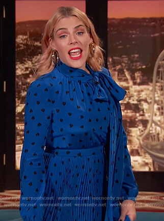 Busy's blue heart print pleated dress on Busy Tonight