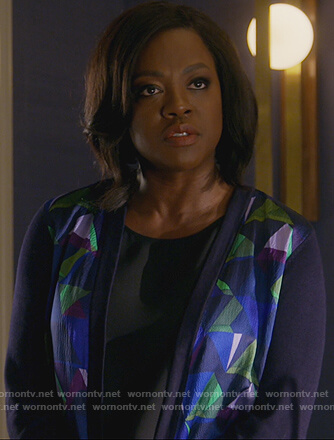 Annalise's printed colorblock cardigan on How to Get Away with Murder