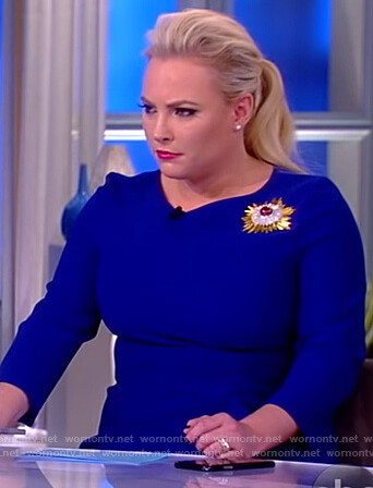 Meghan's blue side ruffle dress on The View