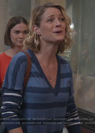 Stef's blue striped sweater on Good Trouble