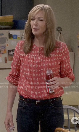 Bonnie's red printed top on Mom