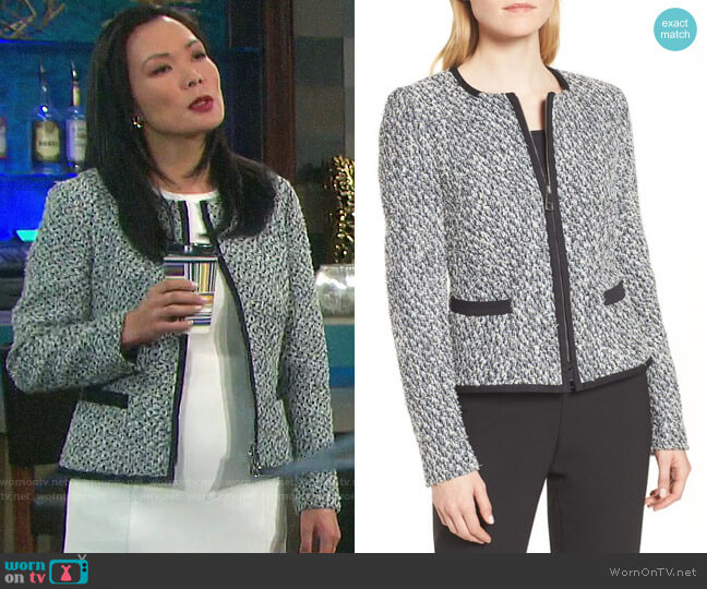 BOSS Kalaila Tweed Jacket worn by Melinda Trask (Laura Kai Chen) on Days of our Lives