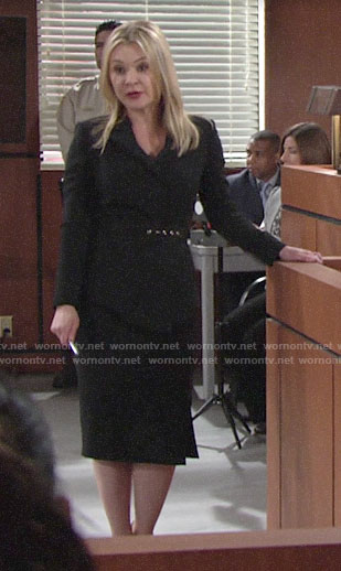 Brittany's black belted peplum jacket on The Young and the Restless