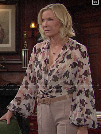 Brooke's abstract print blouse on The Bold and the Beautiful