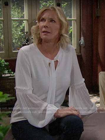 Brooke's white tie-neck sweater on The Bold and the Beautiful