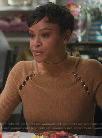 Angela's brown cutout embellished sweater on American Housewife