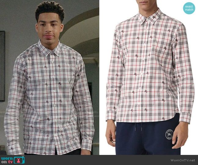 Burberry Edward Logo Poplin Sport Shirt worn by Andre Johnson Jr (Marcus Scribner) on Blackish