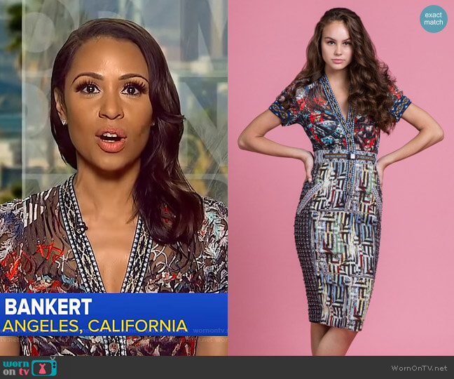 Kandinsky Laser Cut Sheath by Byron Lars Beauty Mark worn by Adrienne Bankert  on Good Morning America
