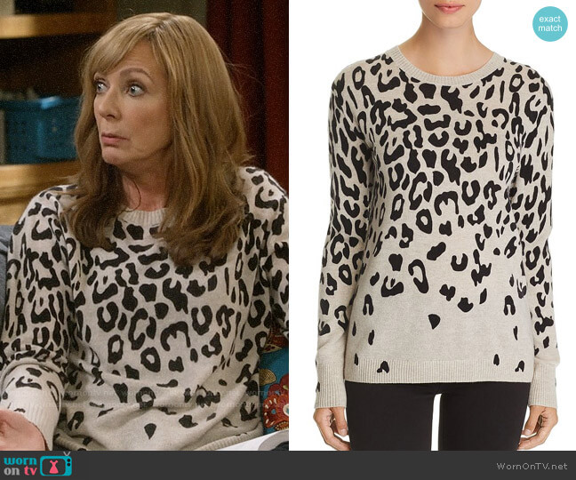 C By Bloomingdales Cascade Leopard Cashmere Sweater worn by Bonnie Plunkett (Allison Janney) on Mom