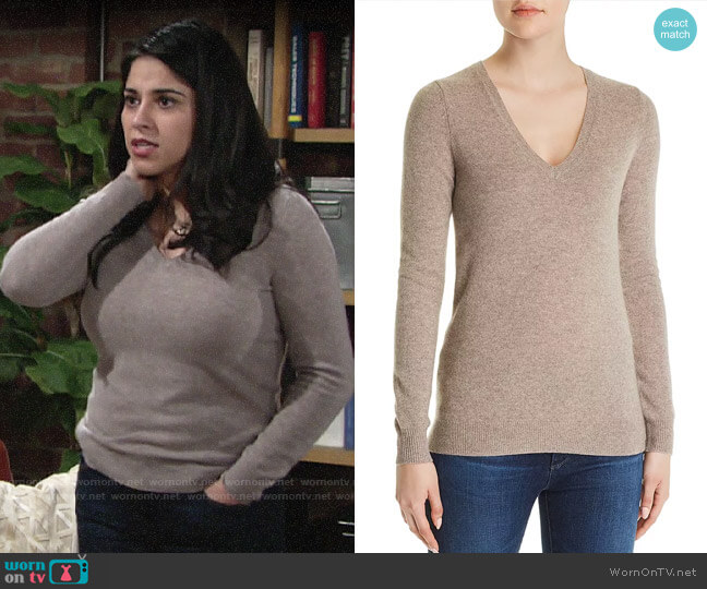 C by Bloomingdales V-Neck Cashmere Sweater worn by Mia Rosales (Noemi Gonzalez) on The Young & the Restless