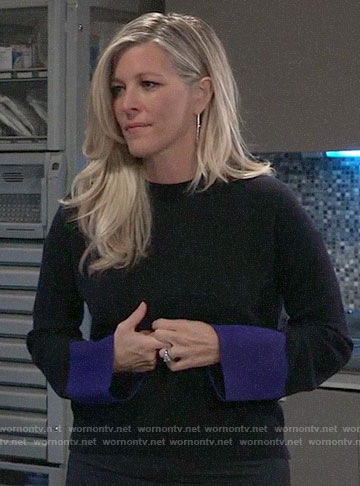 Carly's sweater with blue cuffs on General Hospital