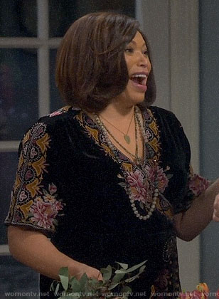 Carol's floral embroidered velvet wrap dress on Last Man Standing