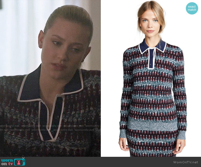 Carven Polo Sweater worn by Betty Cooper (Lili Reinhart) on Riverdale