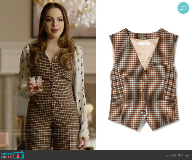 Chloe Checked woven and satin-jacquard vest worn by Fallon Carrington (Elizabeth Gillies) on Dynasty