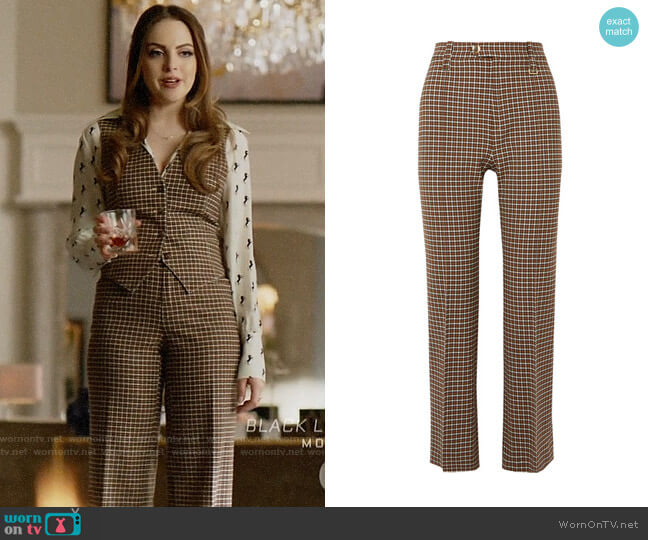 Chloe Belted Cropped checked woven straight-leg pants worn by Fallon Carrington (Elizabeth Gillies) on Dynasty