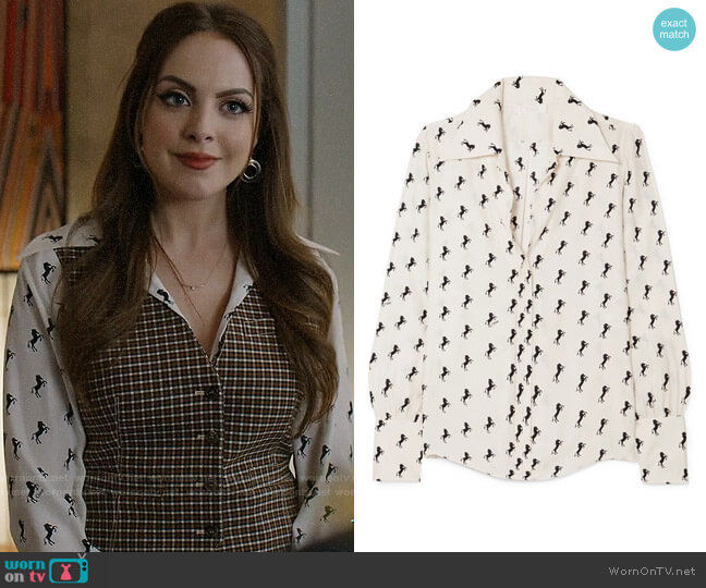 Chloe Printed silk-crepe blouse worn by Fallon Carrington (Elizabeth Gillies) on Dynasty
