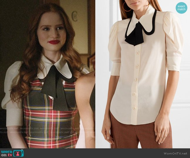 Chloe Two-tone silk crepe de chine blouse worn by Cheryl Blossom (Madelaine Petsch) on Riverdale