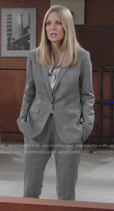 Christine's grey checked suit on The Young and the Restless
