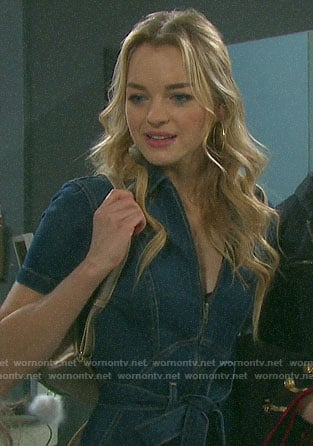 Claire's denim jumpsuit on Days of our Lives