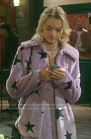Claire's purple fur star coat on Days of our Lives