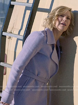 Claire's lavender wrap coat on Modern Family