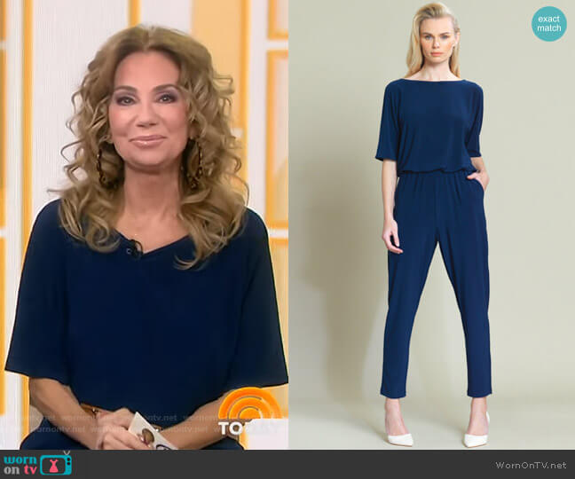 Solid V-Cross Bar Cut-Out Jogger Pocket Jumpsuit by Clara Sunwoo worn by Kathie Lee Gifford  on Today