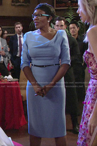 Club Manager's blue dress on The Young and the Restless