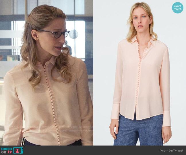 Club Monaco Helek Silk Shirt worn by Kara Danvers (Melissa Benoist) on Supergirl