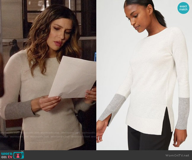 Club Monaco Nicolette Cashmere Sweater worn by Dinah Drake (Juliana Harkavy) on Arrow