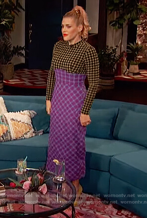 Busy's colorblocked check dress on Busy Tonight
