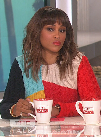 Eve's colorblock sweater on The Talk