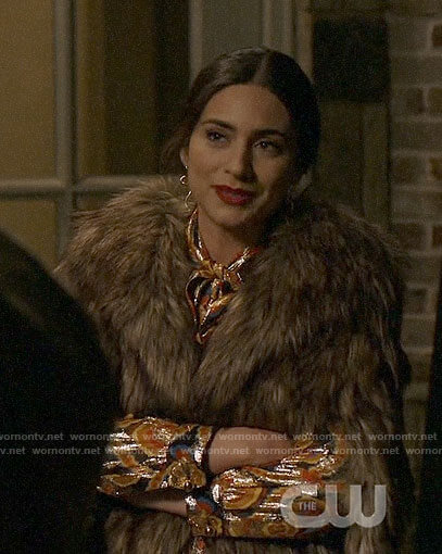 Cristal's faux fur cape jacket on Dynasty