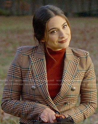 Cristal's plaid double-breasted blazer on Dynasty
