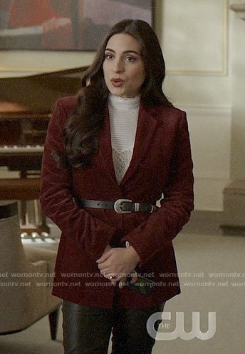 Cristal's red velvet blazer and white lace top on Dynasty