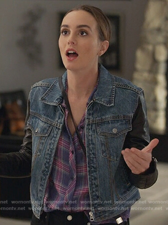 Angie's leather sleeve denim jacket on Single Parents