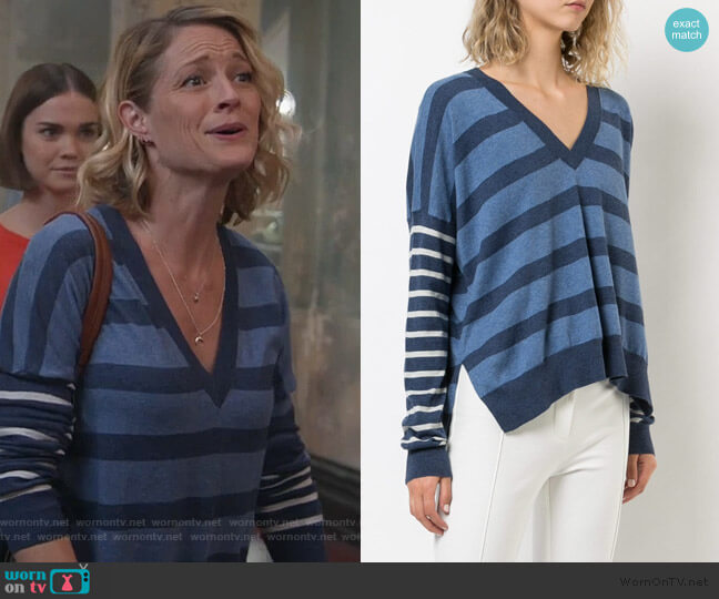 Striped V-Neck Pullover by Derek Lam 10 Crosby worn by Teri Polo on Good Trouble