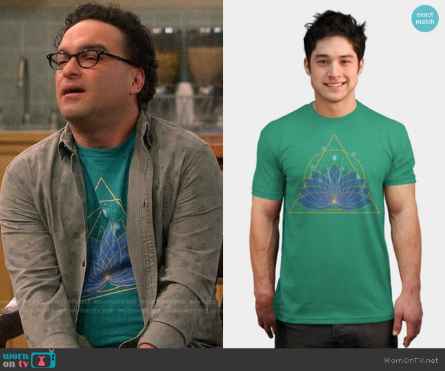 Design by Humans Lotus T-shirt by Timea worn by Leonard Hofstadter (Johnny Galecki) on The Big Bang Theory