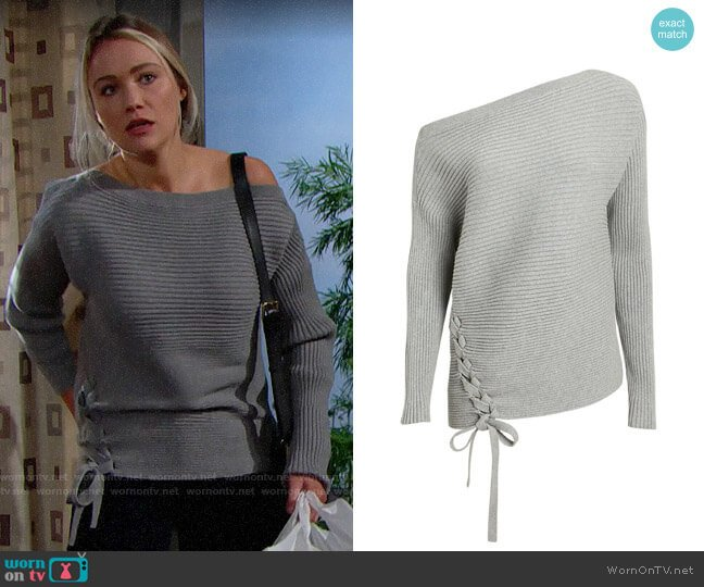 Designers Remix Off Shoulder Lace-Up Sweater worn by Flo Fulton (Katrina Bowden) on The Bold & the Beautiful