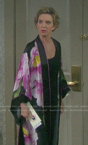 Diana's long floral robe on Days of our Lives