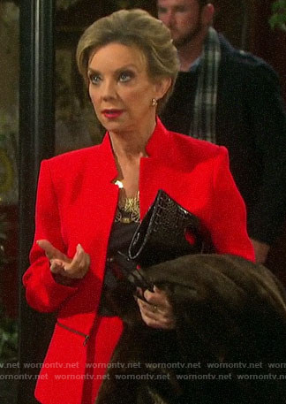 Diana's red zip-waist jacket on Days of our Lives